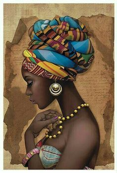 African woman pattern for tin