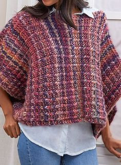 Free Knitting Pattern for Easy 2 Row Repeat Boat Neck Poncho