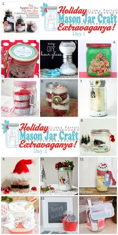 Holiday Mason Jar Craft Extravaganza #holidaygifts #masonjars #diygiftideas