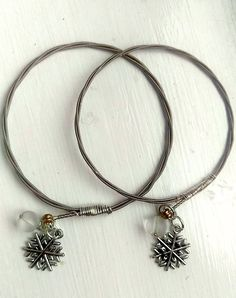 'Snow and ice' recycled electric guitar string bangles