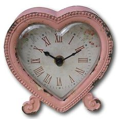 Shabby chic distressed pastel pink heart shaped clock