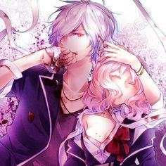 Anime picture 				1500x1500 with  		diabolik lovers 		idea factory 		sakamaki subaru 		komori yui 		yamika 		short hair 		red eyes 		pink hair 		white hair 		eyes closed 		couple 		vampire 		girl 		male 		flower (flowers) 		petals 		blood 		bandage (bandages)
