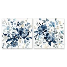 Beautifully crafted with style, the Floral Botanical Wrapped Canvas is a bright way to update your living space. This lasting piece features an energizing floral design in blue hues. Hang each piece sepratlry or together for a bold statement.