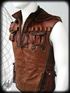 Indiana Jones Brown Leather Vest with Many Pockets by ahniradvanyi