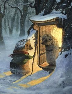 A Winter Guest/Chris Dunn Illustration. i would love to see his illustrations in a children's book. Art And Illustration, Hedgehog Illustration, Animal Illustrations, Fantasy Kunst, Fantasy Art, Chris Dunn, Art Fantaisiste, Op Art, Art Mignon
