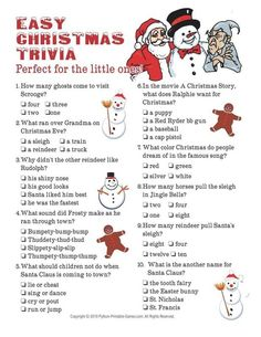 Printable Christmas Games for Holiday Party Fun! Christmas party games are fun for kids and adults. Games include Christmas trivia, bingo, charades and gift exchanges. These printable holiday games are fun and easy to print right from your computer. Christmas Trivia For Kids, Christmas Trivia Questions, Printable Christmas Games, Christmas Party Games, Christmas Activities, Simple Christmas, Christmas Traditions, Winter Christmas, Christmas Holidays