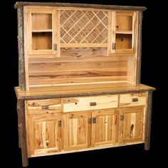Hickory Buffet And Hutch Wine Rack Real High Quality Wood Western Lodge Rustic  #Lodge