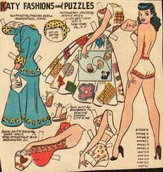 The Paper Collector: Katy Keene Fashions and Puzzles Katy always had such cute clothes.  She was my paper Barbie.