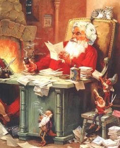 Mark Twain - Letter from Santa Claus - Clemens as Santa -  illustration courtesy of Dave Thomson -- The father of young Susie Clemens, Samuel Langhorne Clemens (also known as MarkTwain) once took pen in hand to craft an unforgettable Christmas offering. His trademarkwit is combined in this story with a child-like whimsy and an understanding of the special place that Santa Claus has in the hearts of children.
