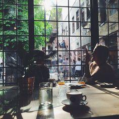 coffeeinprague.cz | #kavarnacohledajmeno #cafe #cafeé #coffeehouse #Prague #Praha #káva #coffee #interior #urban #industrial #design #interiordesign #wood #street #unique #handmade #DIY #industry #madebyhand #bricks  #cool #bulbs #minimalism #minimalistic #minimal #different #atmosphere #window #people #talk