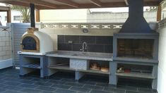 Basic Kitchen Area Concepts For Inside or Outside Kitchen areas – Outdoor Kitchen Designs Outdoor Kitchen Plans, Outdoor Cooking Area, Pizza Oven Outdoor, Outdoor Kitchen Design, Barbecue Garden, Backyard Bbq, Lomba Grande, Built In Braai, Brick Bbq