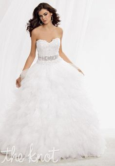 Style M164 by Reflections by Jordan. A silhouette ball gown with a strapless neckline. l TheKnot.com
