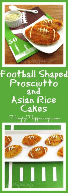 Gear up for the Super Bowl and score a touchdown with your guests with these Football Shaped Prosciutto and Asiago Rice Cakes. I guarantee not one of these appetizers will be left on the plate after the first quarter.