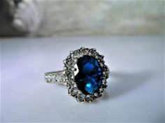 Sterling Silver Ring Princess Di Kate Middleton Blue