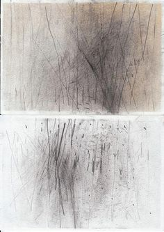 I really like the layering of mark-making from the back ground to the fore ground, as this progression alone (when looked at from a distance, I assume) represents a forest on a foggy winter morning/evening. Abstract Drawings, Art Drawings, Abstract Art, Drawing Faces, Art Abstrait, Mark Making, Minimalist Art, Gravure, White Art