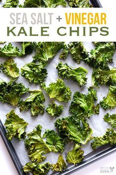 Sea Salt and Vinegar Kale Chips -- a tasty, easy, and healthy alternative to the potato chip version!  gimmesomeoven.com #vegan #glutenfree #healthy