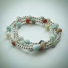 Beaded Lacelet - necklace/bracelet - multi-coloured Amazonite and silver beads