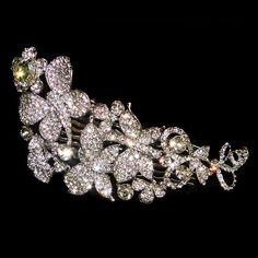 Vintage Inspired Swarovski Crystal Bridal Hair Comb, Wedding Butterfly Flower Jewelry, Clear Rhinestone Hair Accessories-109437057. $29.99, via Etsy.