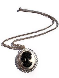 Black and White Day of the Dead Necklace by VintageGaleria on Etsy, $14.95