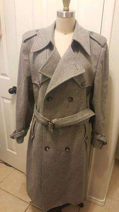 foleys Men s Coat gray 42 R Old School Fashion, Double Breasted, Christian Dior, Wool, Gray, Leather, Jackets, Men, Vintage