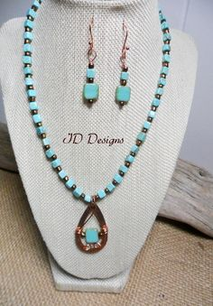 Handmade Southwestern Style Turquoise color Necklace Pendent Set by IDJewelryDesigns on Etsy