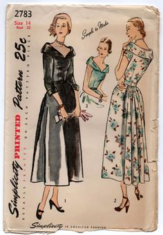 """1950's Simplicity One-Piece Wide Collar Dress with gathered back - Bust 32"""" - UC/FF - No. 2783 by backroomfinds on Etsy"""
