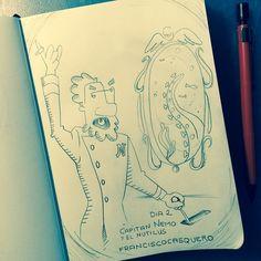"""#RetoDibujoID Día 2: """"El capitán Nemo y el Nautilus"""" #ilustración #dibujo #dibujantes #ilustradores"""