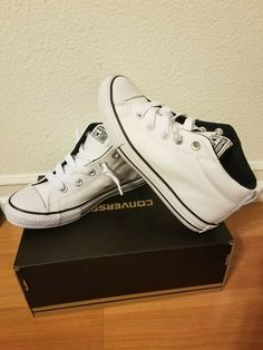 sports shoes 5b8b8 a372e Converse All Star CT Street Mid boys White  balck Shoes Size 2 Youth!