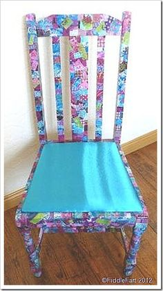 A revamped chair using Decopatch.