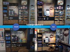 Huisstijl implementeren in één dag! Koffiemeubel restylen met nieuwe visuals en onze eigen HM Interieurfolie. Maar ook de buiten reclame voorzien van druk- en printwerk. Meer info@huisstijlmakelaar.nl