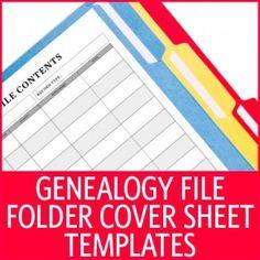 Genealogy File Folder Cover Sheet Templates