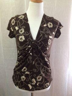 Apt 9 Stretch Shirt Twist Front Brown w/ Cream Floral Size M Medium  #Apt9 #Blouse #Career