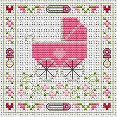 image of Pink Pram Cross Stitch Card Kit