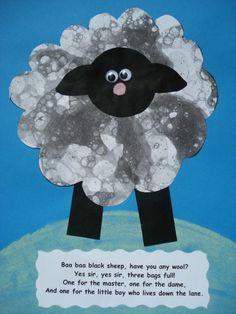 a faithful attempt: Baa Baa Black Sheep Collage Craft—bubble printing Rhyming Preschool, Rhyming Activities, Farm Activities, Preschool Crafts, Farm Crafts, Preschool Ideas, Nursery Rhyme Crafts, Nursery Rhymes Preschool, Nursery Rhyme Theme