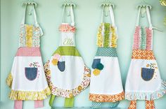 """Pocket Full of Posies birthday party - possible theme for A's 3rd or 4th birthday - love the homemade aprons - could marry it with a """"baking"""" theme"""