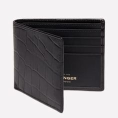 Luxury leather billfold wallets made by Ettinger in England.
