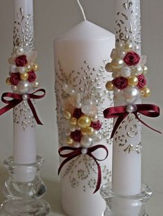 Candle styles inspirations for wedding ceremonies and events; a set styles ideas for wedding candle center pieces. by VintageShabbyRustick on EtsyItems similar to Wedding Unity Candles. Roses and Pearls decor on Etsy come across a large number of han Christmas Candle Decorations, Christmas Candles, Christmas Crafts, Halloween Decorations, Floating Candles Wedding, Candle Wedding Centerpieces, Homemade Candles, Diy Candles, Hanging Candles