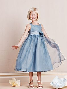 Alfred Angelo Style 6669: organza and satin tea length flower girl dress with satin flowers