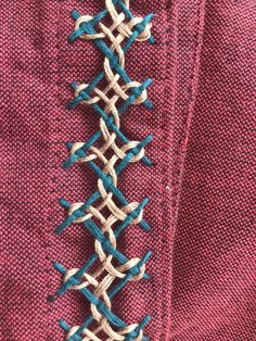 Interlaced double herringbone stitch. Directions pg 88-89 Jacqueline Enthoven 'The Stitches of Creative Embroidery'