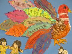 Use individual feathers for writing thankful reflections.