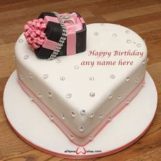 write name on pictures with eNameWishes by stylizing their names and captions by generating text on Heart Shaped Birthday Cake with Name with ease. Heart Shaped Birthday Cake, Butterfly Birthday Cakes, Happy Birthday Cakes, Engagement Cake Design, Engagement Cakes, Engagement Gifts, Cake Images, Cake Pictures, Wedding Cake Decorations
