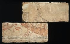 Painted limestone talatat: river scene with royal barges and tow boats. New Kingdom. 18th dynasty. Reign of Akhenaten. 1349–1336 B.C. | Museum of Fine Arts, Boston