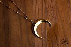 Crescent Moon Necklace, Long Layering Necklace, Double Horn Necklace, Witchy Upside Down Moon Necklace