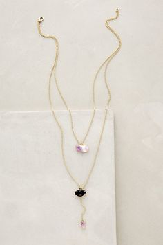 Double Drop Amethyst Necklace #anthropologie