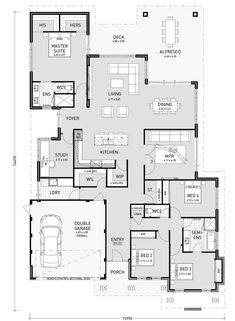 4 Storey Tall House Reaches Above The Forest To See The: Floor Plan Friday: 4 Bedroom, Study, Media And Good Storage Hotel Floor Plan, Floor Plan 4 Bedroom, 4 Bedroom House Plans, Bathroom Floor Plans, Best House Plans, Dream House Plans, Small House Plans, House Floor Plans, Bungalow Floor Plans