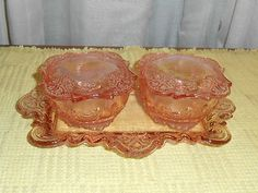 Pink Depression Glass Dresser Vanity Set with Tray and 2 Trinket Jars with Lids | eBay