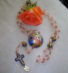 Dyed Jade & Cloisonne Rosary