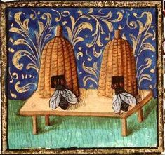 Medieval illustration of two woven bee hives, with two over-large medieval bees, on a table on the grass, with gold fleur de lys-type pattern on a royal blue background. Medieval Manuscript, Medieval Art, Illuminated Manuscript, Medieval Life, I Love Bees, Bee Embroidery, Vintage Bee, Bee Art, Bee Happy
