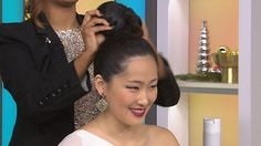 Beauty expert Deepica Mutyala shows Kathie Lee and Hoda three trendy hairstyles you can whip together for New Year's Eve: the princess roll, the high bun. and a bedazzled do.