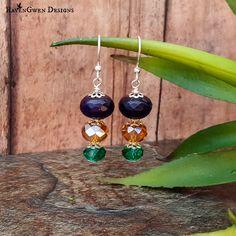 Beaded Dangle Earrings, Purple Gold Green Earrings, Faceted Glass Earrings, Mardi Gras Earrings, Festive Earrings, New Orleans, Handmade by RavenGwenDesigns on Etsy
